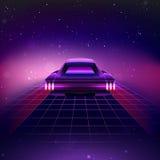 retro fondo di fantascienza 80s con il Supercar illustrazione di stock