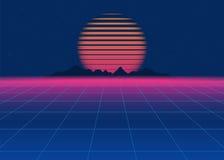 retro fondo di fantascienza 80s Retro fondo futuristico, retro onda dello synth illustrazione di stock