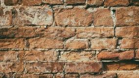 Retro fondo di lerciume di stile di vecchio muro di mattoni arancio sbriciolato Immagine Stock Libera da Diritti