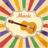 Retro fondo di musica con la chitarra Fotografia Stock