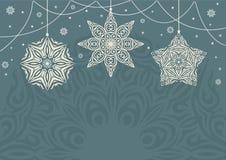 Retro fondo di Natale con i fiocchi di neve bianchi su fondo blu Fotografia Stock Libera da Diritti