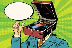 Retro fonografo del grammofono dell'uomo di musica dell'amante Fotografia Stock Libera da Diritti