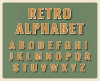 Retro font alphabet. Template vintage typography, element type. Vector illustration Stock Photography