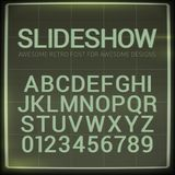 Retro font with blur effect. Vector distorted retro slide projector screen tiltle alphabet. Retro font with blur effect. Vector distorted retro slide projector Royalty Free Stock Images