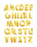 Retro font in gold. Golden alphabet. Realistic letters Royalty Free Stock Image
