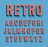 Retro font with light bulbs. stock illustration