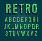 Retro font with light bulbs. stock illustration