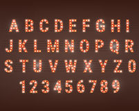 Retro font with light bulbs Stock Photography