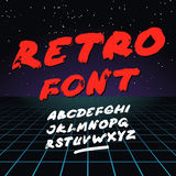 Retro font on light grid background. Vector alphabet Stock Image