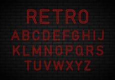 Retro font, neon vector illustration