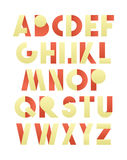 Retro font in red and yellow. Beige alphabet. Realistic letters Royalty Free Stock Images