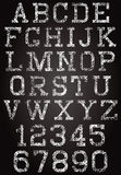 Retro font and set of digits Stock Photos