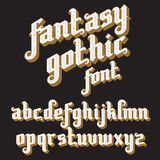 Retro Font set. Fantasy Gothic Font. Retro vintage alphabet. Custom type letters on a dark background. Stock vector typography for labels, headlines, posters etc Royalty Free Stock Photo