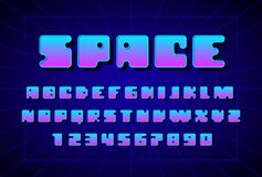 Retro font in the style of 80s. Uppercase letters and numbers. Eps8. RGB. Global colors royalty free illustration
