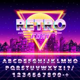 Retro font vintage on the neon city background. Vector illustration Royalty Free Stock Images