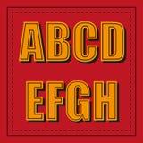 Retro fonte di alfabeto dalla a - h su fondo rosso Royalty Illustrazione gratis