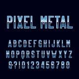 Retro fonte di alfabeto del videogioco arcade Lettere e numeri di pendenza del metallo del pixel illustrazione di stock