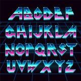 retro fonte di alfabeto di 80 s Fotografia Stock Libera da Diritti