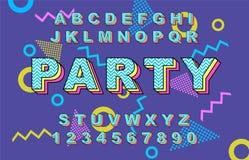 retro fonte di alfabeto di 80 s Illustrazione di Stock