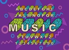 retro fonte di alfabeto di 90 s royalty illustrazione gratis