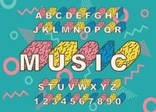 retro fonte di alfabeto di 90 s illustrazione di stock