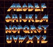 Retro fonte di alfabeto 80 s illustrazione vettoriale