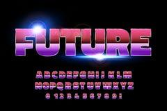 retro fonte di alfabeto di 80 ` s Stile di futuro di fantascienza illustrazione di stock