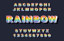 retro fonte di alfabeto di 80 s Vettore d'annata di alfabeto dell'arcobaleno illustrazione di stock