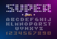 Retro fonte di stile della discoteca fatta delle stelle Immagini Stock Libere da Diritti