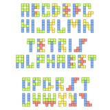 Retro fonte di Tetris Alfabeto variopinto costruttivo Immagine Stock
