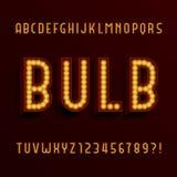 Retro fonte di vettore di alfabeto della lampadina 3D tipo lettere con le lampadine e le ombre illustrazione vettoriale