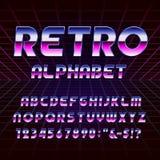 retro fonte di vettore di alfabeto degli anni 80 Fotografia Stock