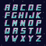 Retro fonte - modo 80-90s Alfabeto inglese di vettore futuristico Fotografia Stock Libera da Diritti