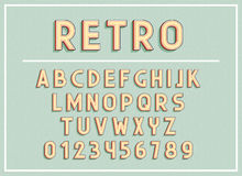 Retro fonts and abc letters print typography vector Illustration. Royalty Free Stock Photography