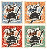 Retro food posters. Set of retro restaurant posters. Vintage food vector backgrounds with chef hat, plate, fork and knife. Collection of meal and food old Royalty Free Illustration
