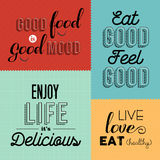Retro food quote designs set of colorful labels Royalty Free Stock Images