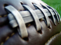 Retro Football. An old leather football with worn laces and stitching Stock Photo