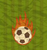Retro football flyer with ball in fire flames Stock Image