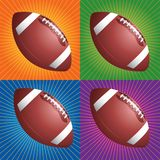 Retro footballs. Footballs with four different retro backgrounds Stock Photo
