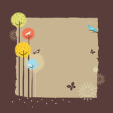 Retro Forest Design. Birds, trees and flowers of landscape Stock Images