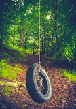 Retro Forest Tyre Swing Royalty Free Stock Images
