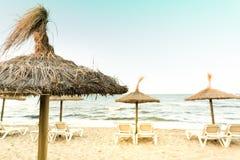 Retro- Foto der Ansicht vom Strand Stockfotografie