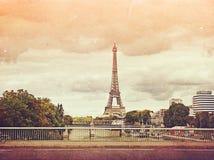 Retro foto met Parijs, Frankrijk, wijnoogst Stock Foto's