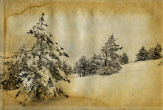 Retro foto van de winter Royalty-vrije Stock Foto's
