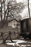 Retro foto van een oude trein Royalty-vrije Stock Afbeeldingen