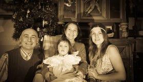 Retro foto van Kerstmisportret Royalty-vrije Stock Afbeeldingen