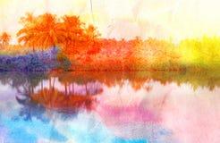 Retro fotobakgrund med palmträd Royaltyfria Foton