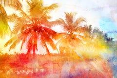 Retro fotobakgrund med palmträd Arkivfoton