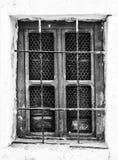 Retro fotografia okno z starą kratownicą w rocznik ścianie Zdjęcia Royalty Free