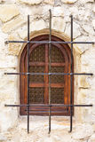 Retro fotografia okno z starą kratownicą w rocznik ścianie Zdjęcie Royalty Free